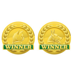 cat and dog pet winners medals vector image