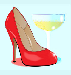 Champagne and ladies shoe vector