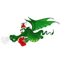 cheerful dragon in santas hat vector image