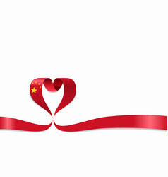 Chinese flag heart-shaped ribbon vector