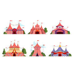 circus tent carnival circus canopy stripe tent vector image
