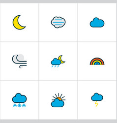 climate icons colored line set with solar windy vector image