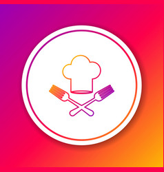 Color line chef hat and crossed fork icon isolated vector