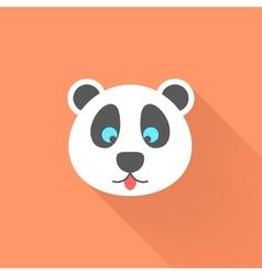 cute panda icon with long shadow vector image