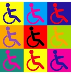 Disabled sign Pop-art style icons set vector image