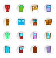 Door icons cartoon style vector