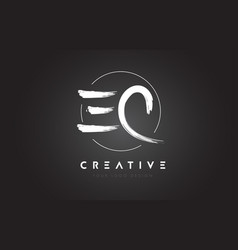 ec brush letter logo design artistic handwritten vector image