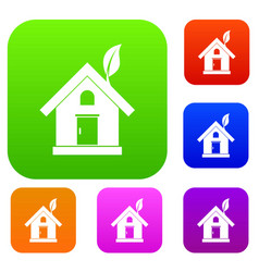 eco house concept set collection vector image