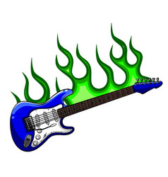 Electric guitar on fire in full color and black vector