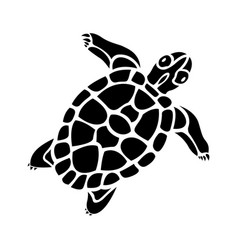 Exotic tribal art with black turtle silhouette vector