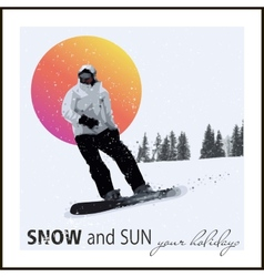 Extreme Snowboard against the evening sun vector image