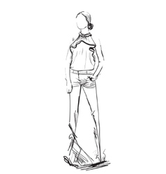 Fashion model Woman Sketch vector