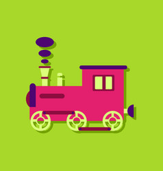 Flat icon design kids train in sticker style vector