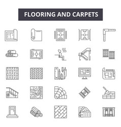 Flooring and carpets line icons for web and mobile vector