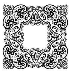 floral hand drawn vintage border frame design vector image