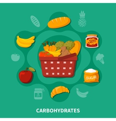Food Basket Supermarket Round Composition vector