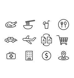 food icons and other in linear style art vector image