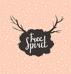 Free Spirit Hipster Vintage Stylized Lettering on vector image