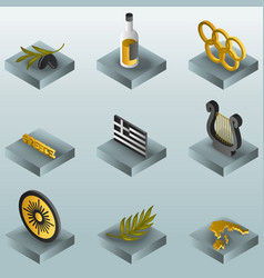greece color gradient isometric icons vector image