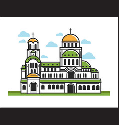 green christian church vector image