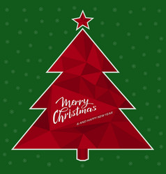 greeting card with a 3d red christmas tree vector image