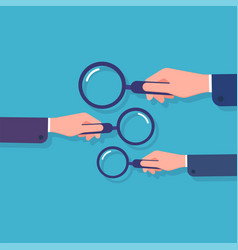 hands holding magnifying glass information vector image