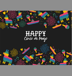 happy cinco de mayo mexican pattern greeting card vector image