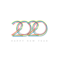happy new year 2020 modern bright 2020 text vector image