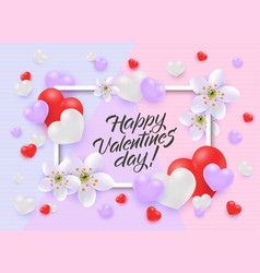 happy valentine day congratulation with frame vector image