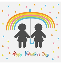 Happy Valentines Day Love card Rainbow umbrella vector image