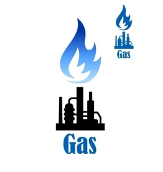 Industrial icon with refinery plant and flame vector
