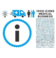 Info Icon with 1000 Medical Business Pictograms vector image