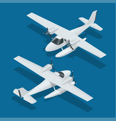isometric plane hydro aircraft air transportation vector image