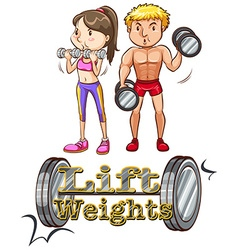 Lift weights vector image