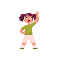 little girl with ponytails doing morning exercises vector image