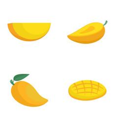 mango fruit yellow icons set flat style vector image