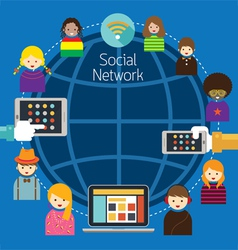 Mobile Laptop Tablet with People Social Network vector image