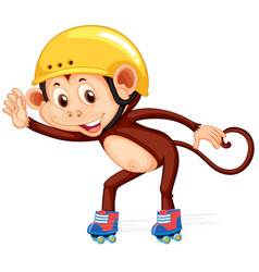 Monkey playig roller skate vector