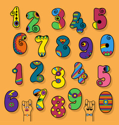 Numbers set colorful disco and superhero style vector