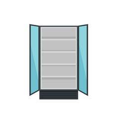 Open commercial fridge icon flat style vector
