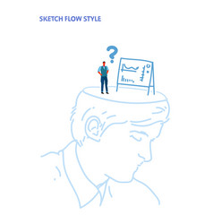 open human head confused businessman looking at vector image