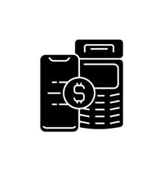 Pay service black glyph icon vector