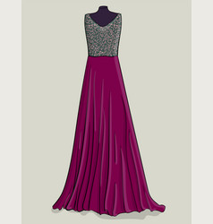Purple long dress with lilac lace on the corset vector