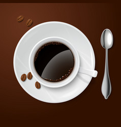 Realistic white with black coffee vector