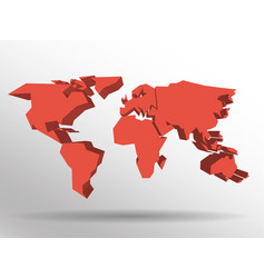 red 3d map of world with dropped shadow on vector image
