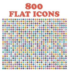 set 800 flat icons for web internet mobile vector image