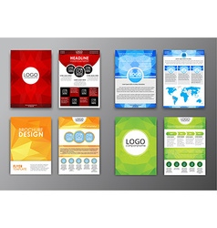 Set polygonal brochures and flyers vector image