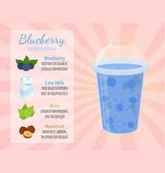 Smoothie recipe - blueberry cartoon flat style vector