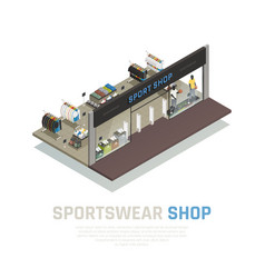 Sports wear shop isometric vector