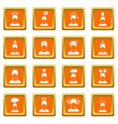 Stress icons set orange vector